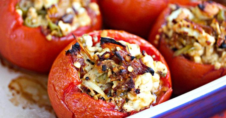 receitas saudaveis Tomates recheados com cogumelos