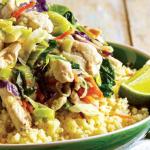 Salada de frango com cuscuz e lima