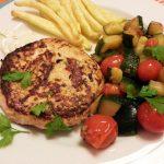 Hambúrgueres de peixe com batatas fritas(LIGHT) de forno